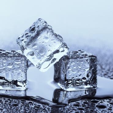 Ice cube melting showing phase change